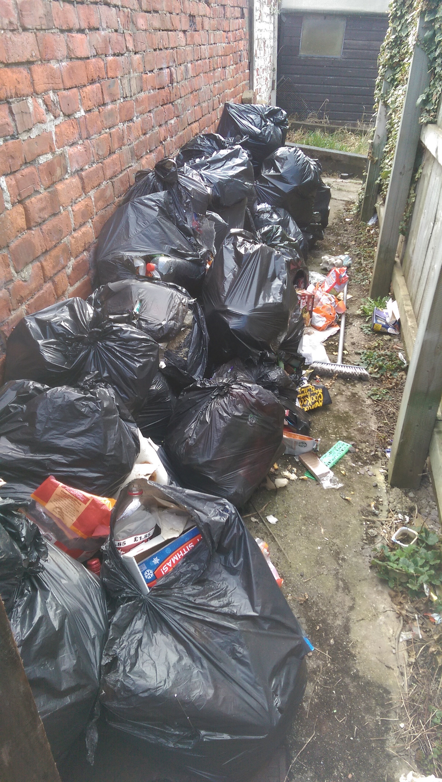 rubbish bags removed Teesside