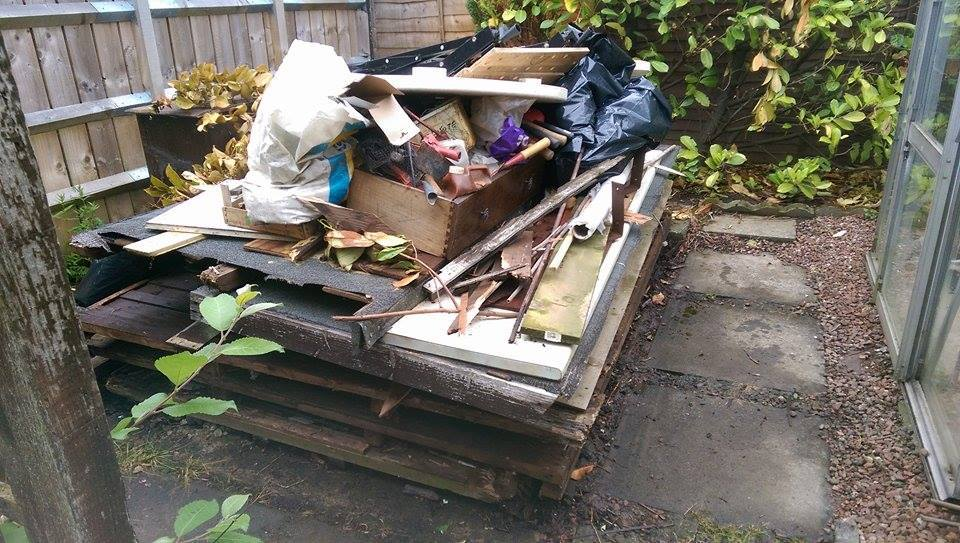 Garden shed and other waste ready to be collected
